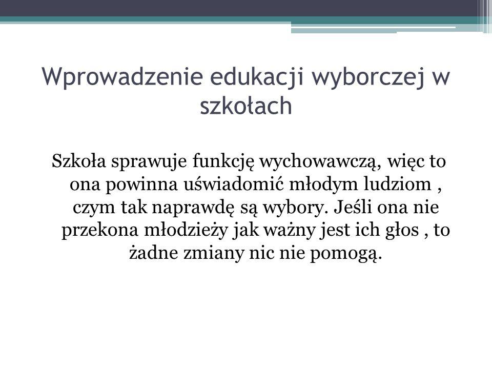 Wprowadzenie edukacji wyborczej w szkołach