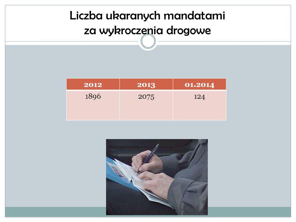 Liczba ukaranych mandatami za wykroczenia drogowe
