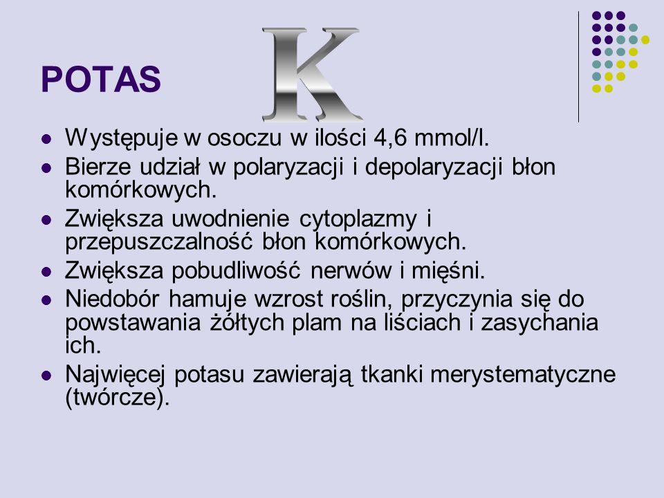 POTAS K Występuje w osoczu w ilości 4,6 mmol/l.