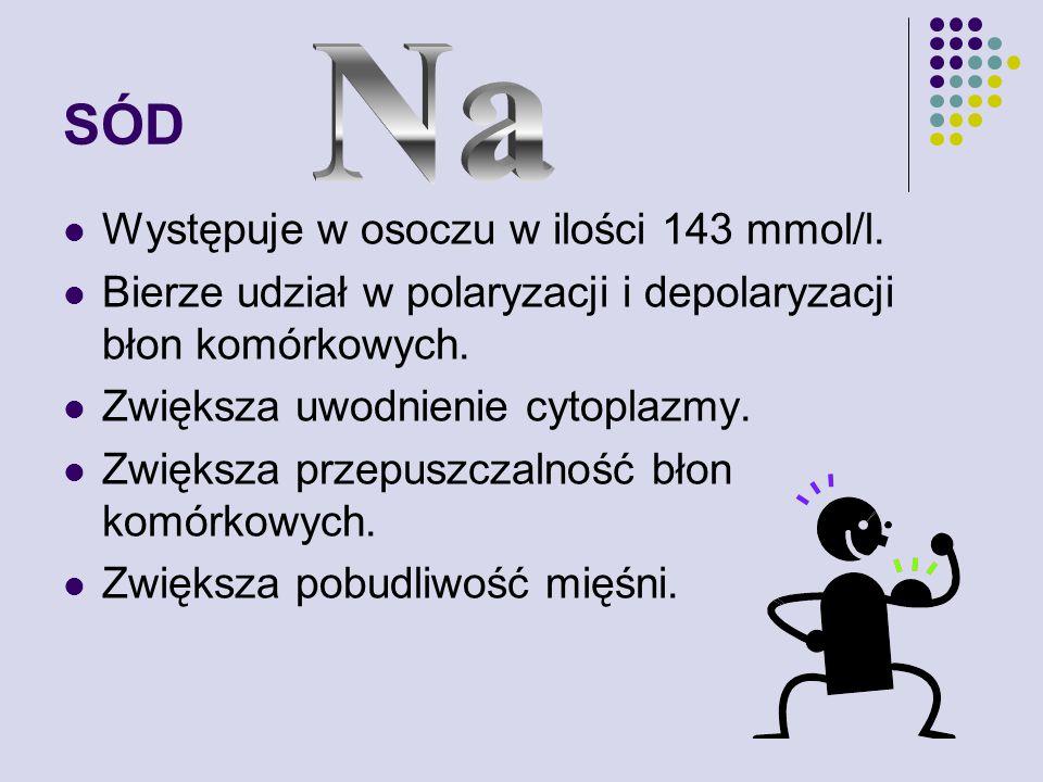 SÓD Na Występuje w osoczu w ilości 143 mmol/l.