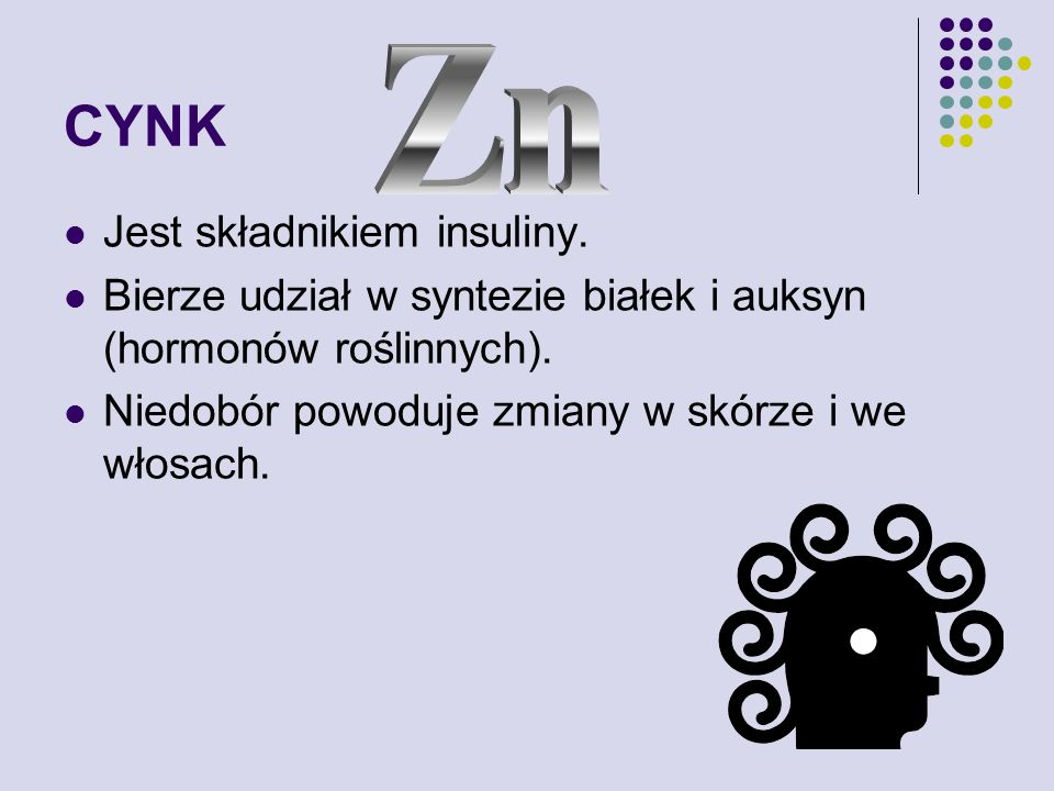 CYNK Zn Jest składnikiem insuliny.
