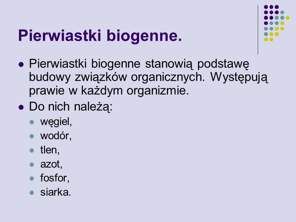 Pierwiastki biogenne. Pierwiastki biogenne stanowią podstawę budowy związków organicznych. Występują prawie w każdym organizmie.
