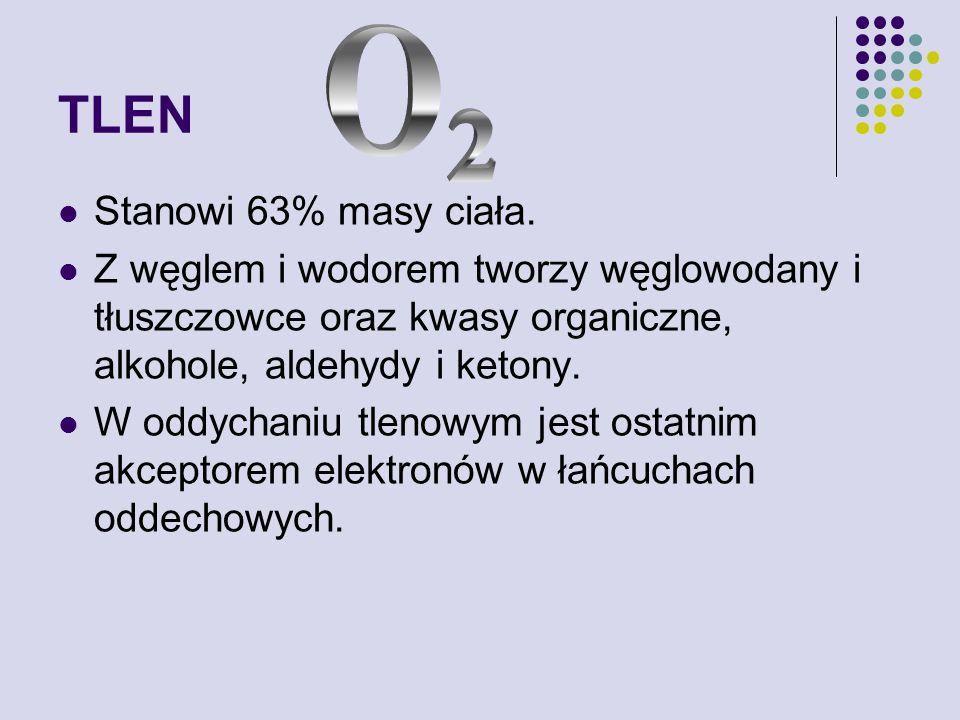 TLEN O 2 Stanowi 63% masy ciała.