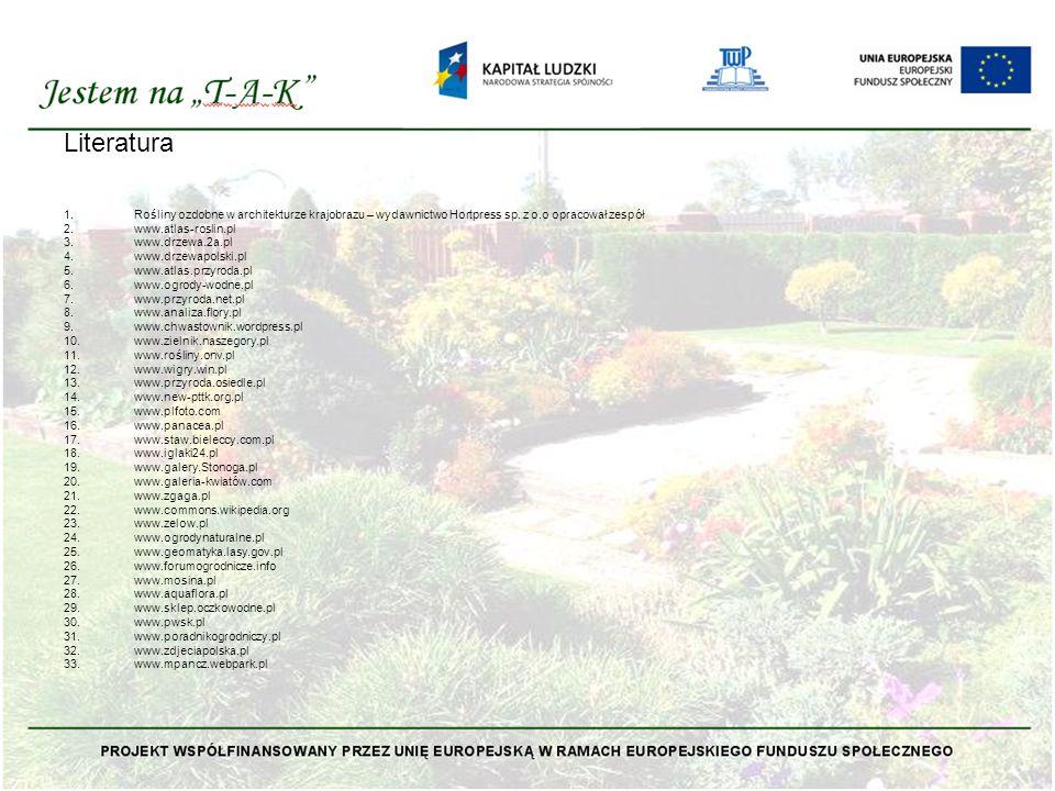 Literatura Rośliny ozdobne w architekturze krajobrazu – wydawnictwo Hortpress sp. z o.o opracował zespół.