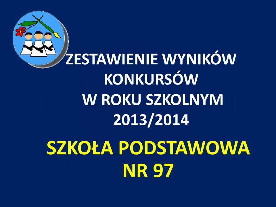 ZESTAWIENIE WYNIKÓW KONKURSÓW W ROKU SZKOLNYM 2013/2014
