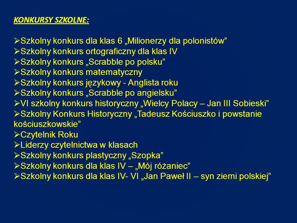 """KONKURSY SZKOLNE: Szkolny konkurs dla klas 6 """"Milionerzy dla polonistów Szkolny konkurs ortograficzny dla klas IV."""