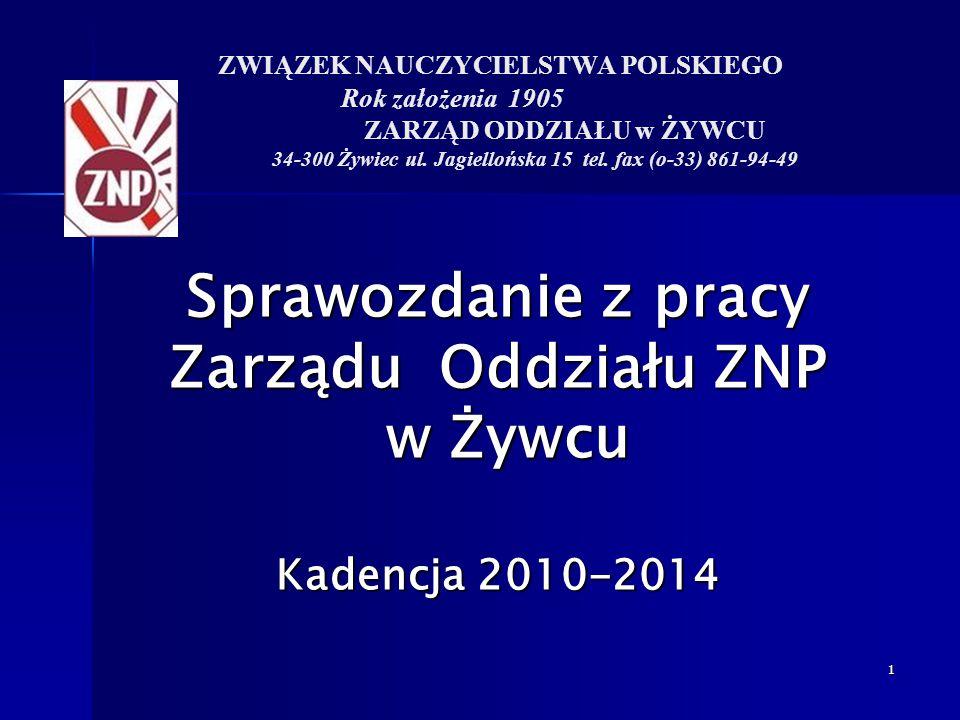 Sprawozdanie z pracy Zarządu Oddziału ZNP w Żywcu