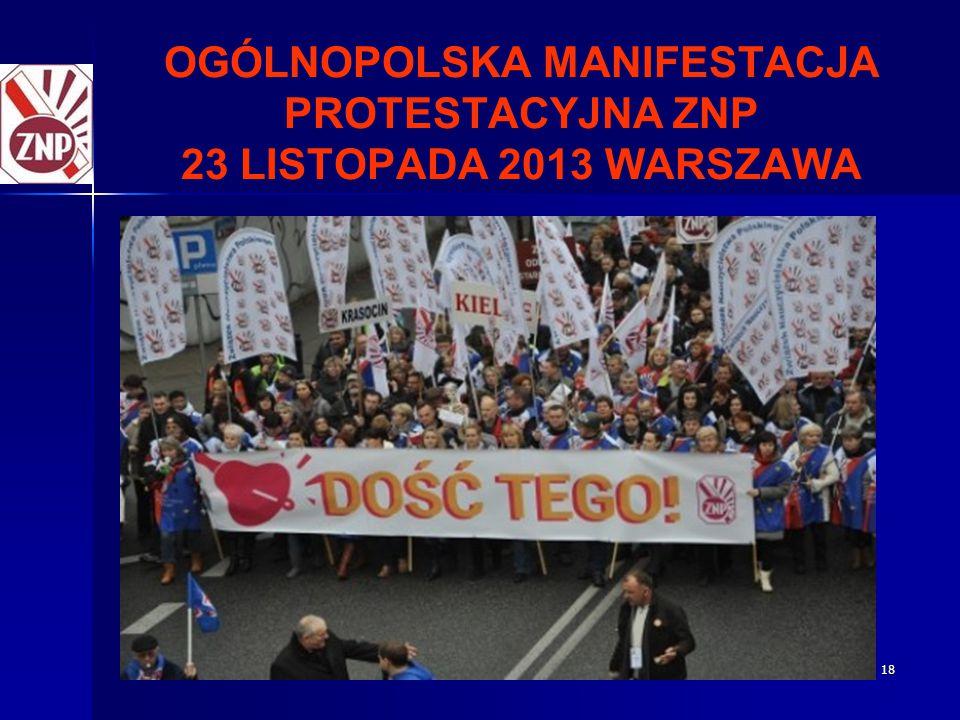 OGÓLNOPOLSKA MANIFESTACJA PROTESTACYJNA ZNP 23 LISTOPADA 2013 WARSZAWA