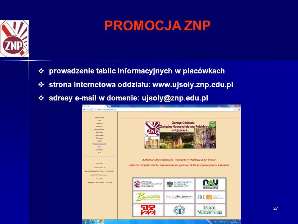 PROMOCJA ZNP prowadzenie tablic informacyjnych w placówkach