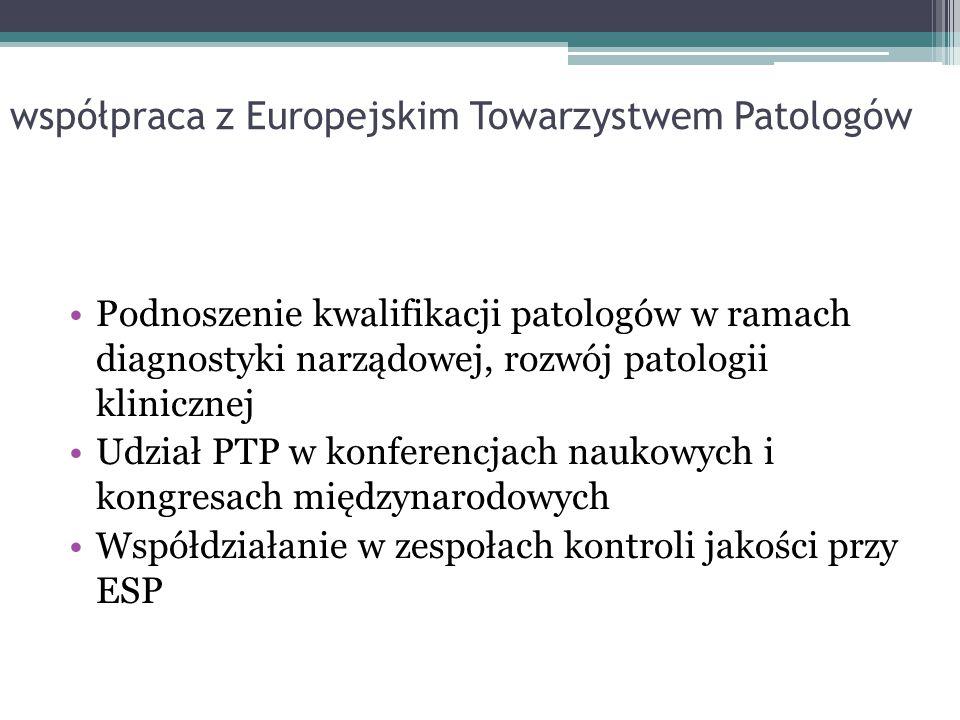 współpraca z Europejskim Towarzystwem Patologów