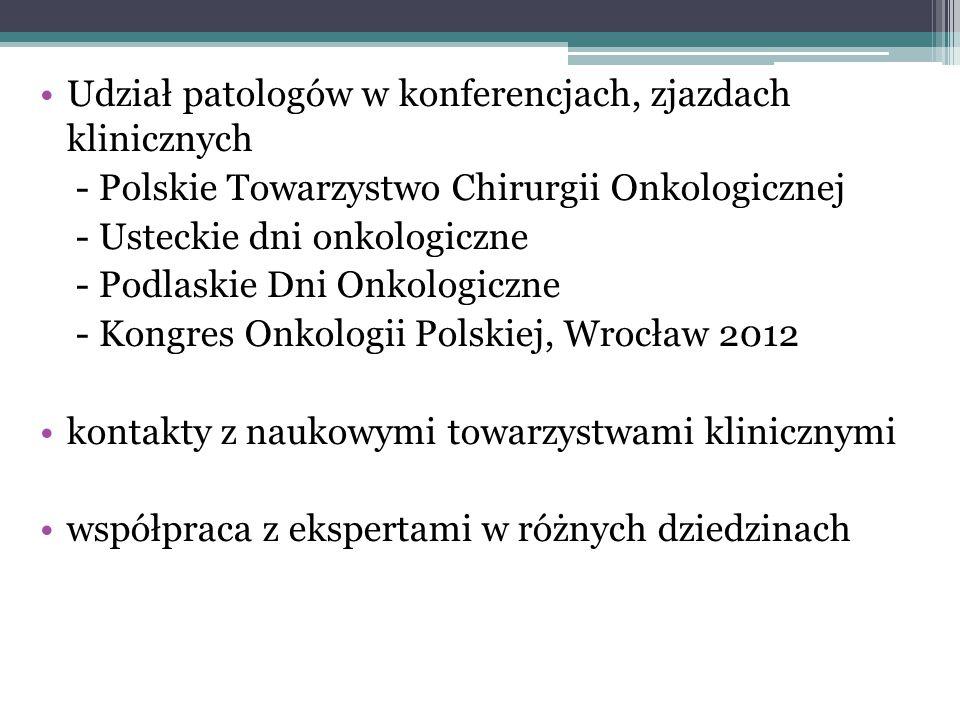 Udział patologów w konferencjach, zjazdach klinicznych