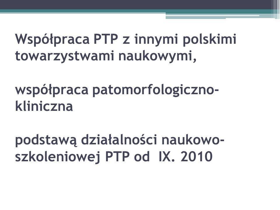 Współpraca PTP z innymi polskimi towarzystwami naukowymi, współpraca patomorfologiczno-kliniczna podstawą działalności naukowo-szkoleniowej PTP od IX.