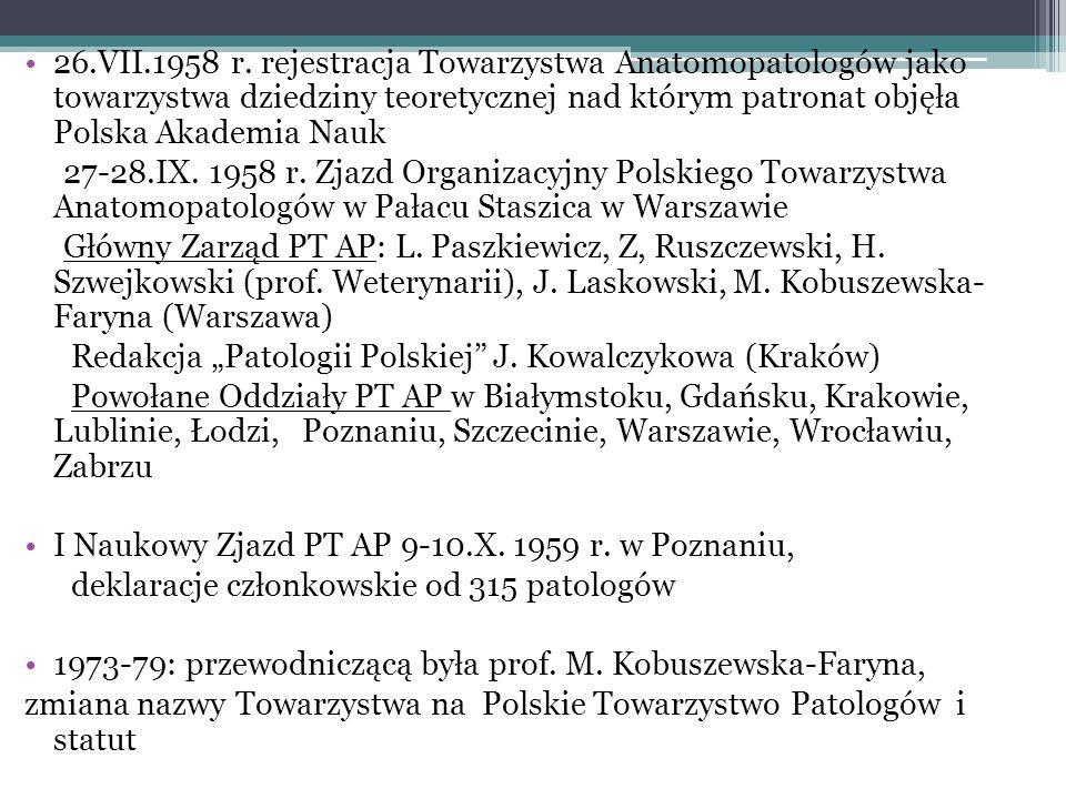 26.VII.1958 r. rejestracja Towarzystwa Anatomopatologów jako towarzystwa dziedziny teoretycznej nad którym patronat objęła Polska Akademia Nauk