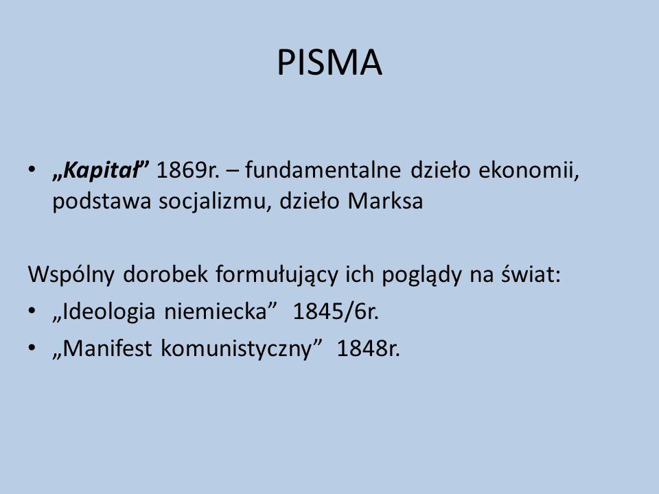 """PISMA """"Kapitał 1869r. – fundamentalne dzieło ekonomii, podstawa socjalizmu, dzieło Marksa. Wspólny dorobek formułujący ich poglądy na świat:"""