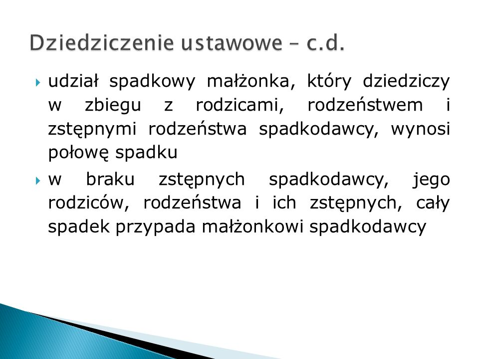 Dziedziczenie ustawowe – c.d.