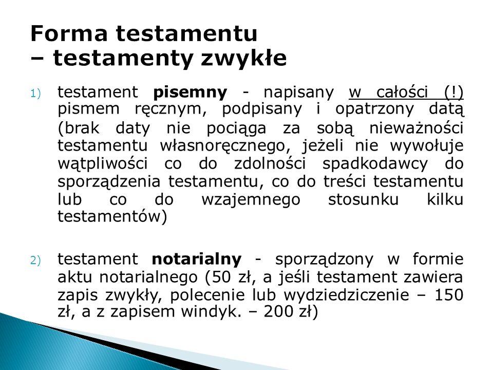 Forma testamentu – testamenty zwykłe