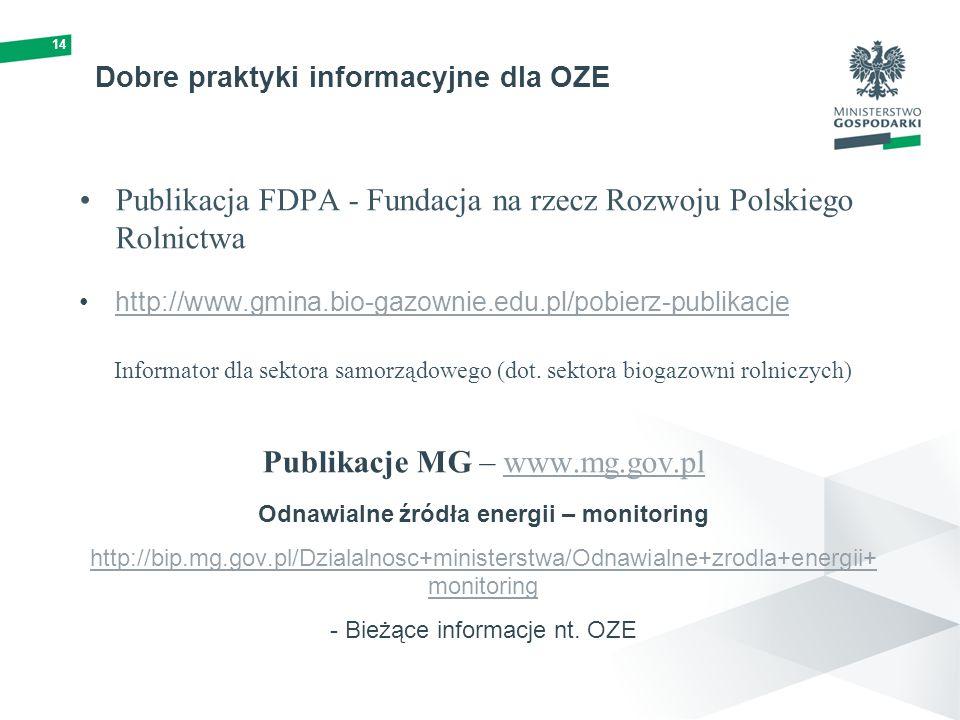 Dobre praktyki informacyjne dla OZE