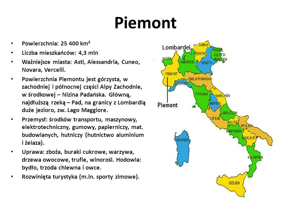 Piemont Powierzchnia: 25 400 km² Liczba mieszkańców: 4,3 mln