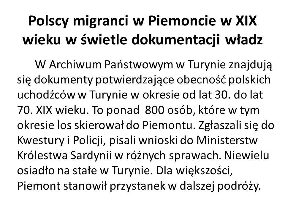 Polscy migranci w Piemoncie w XIX wieku w świetle dokumentacji władz