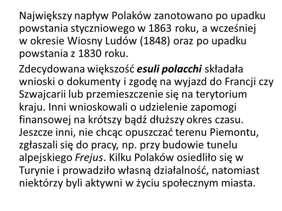 Największy napływ Polaków zanotowano po upadku powstania styczniowego w 1863 roku, a wcześniej w okresie Wiosny Ludów (1848) oraz po upadku powstania z 1830 roku.