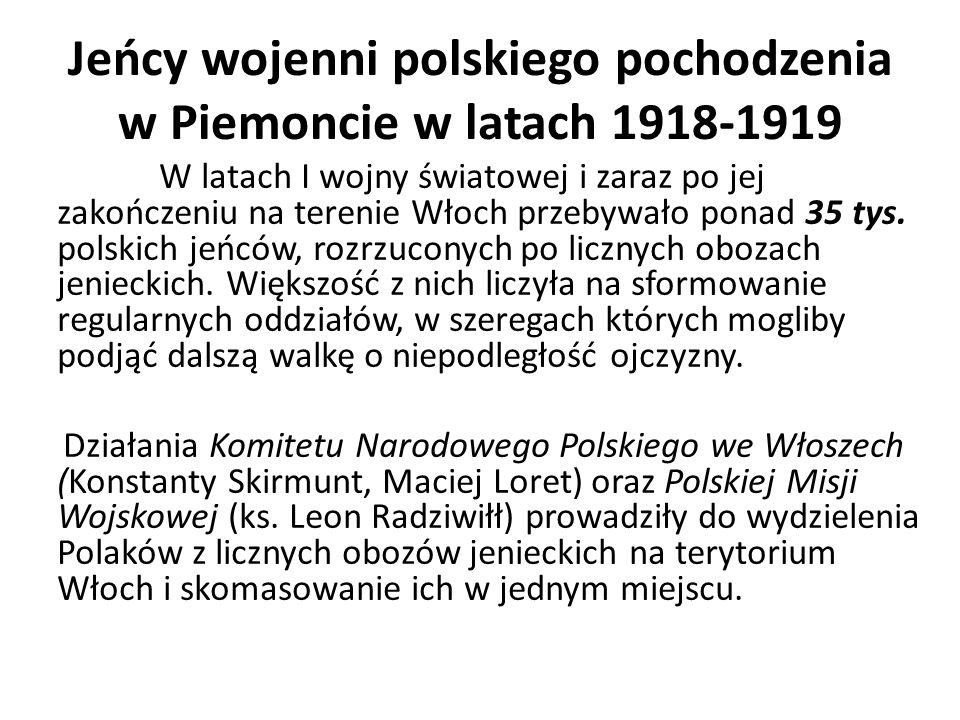 Jeńcy wojenni polskiego pochodzenia w Piemoncie w latach 1918-1919