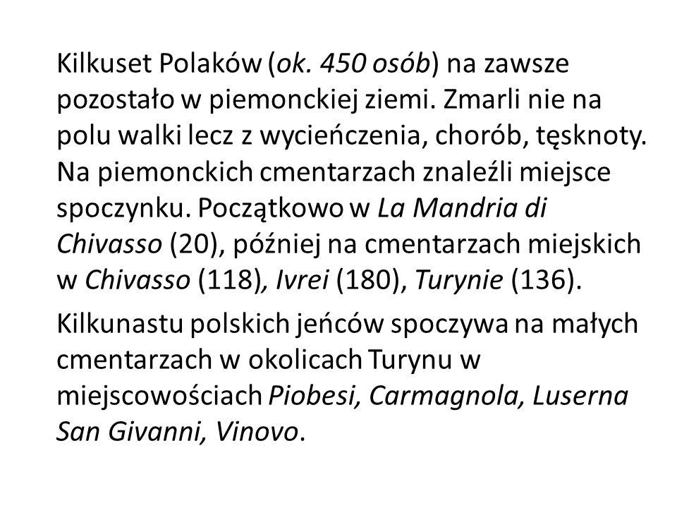 Kilkuset Polaków (ok. 450 osób) na zawsze pozostało w piemonckiej ziemi.