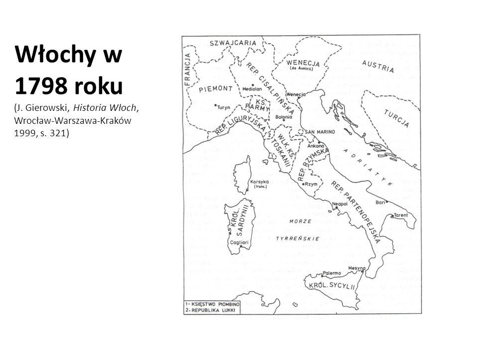Włochy w 1798 roku (J. Gierowski, Historia Włoch, Wrocław-Warszawa-Kraków 1999, s. 321)