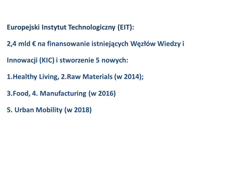 Europejski Instytut Technologiczny (EIT): 2,4 mld € na finansowanie istniejących Węzłów Wiedzy i Innowacji (KIC) i stworzenie 5 nowych: 1.Healthy Living, 2.Raw Materials (w 2014); 3.Food, 4.