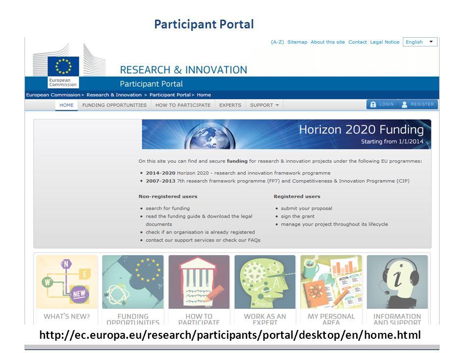 Participant Portal http://ec.europa.eu/research/participants/portal/desktop/en/home.html