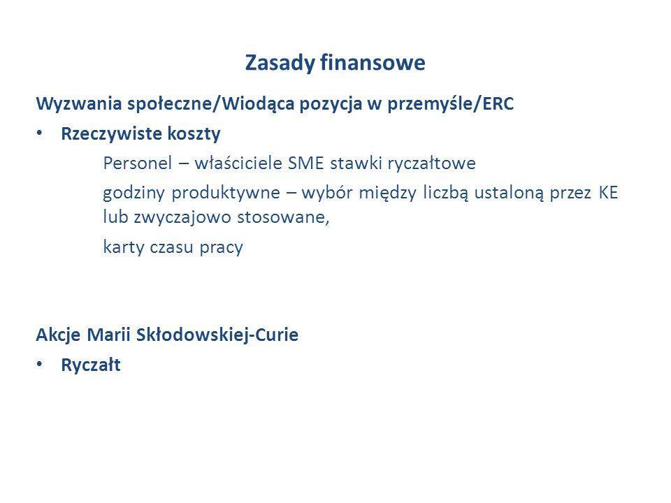 Zasady finansowe Wyzwania społeczne/Wiodąca pozycja w przemyśle/ERC