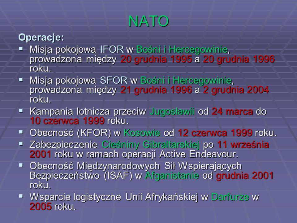 NATO Operacje: Misja pokojowa IFOR w Bośni i Hercegowinie, prowadzona między 20 grudnia 1995 a 20 grudnia 1996 roku.