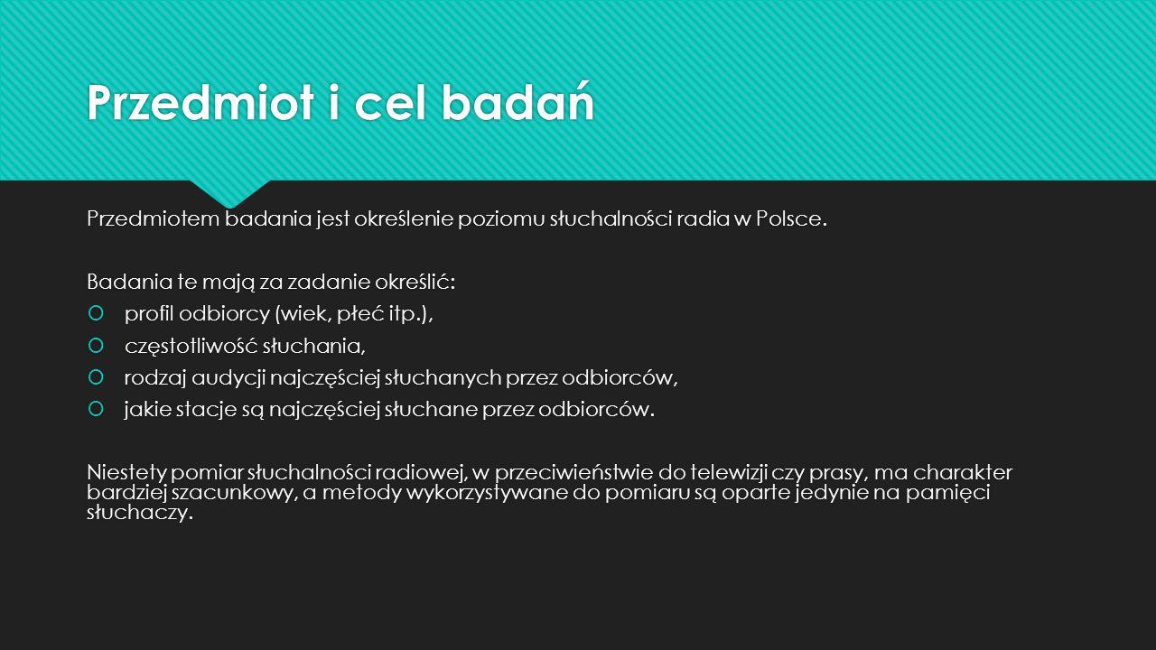 Przedmiot i cel badań Przedmiotem badania jest określenie poziomu słuchalności radia w Polsce. Badania te mają za zadanie określić: