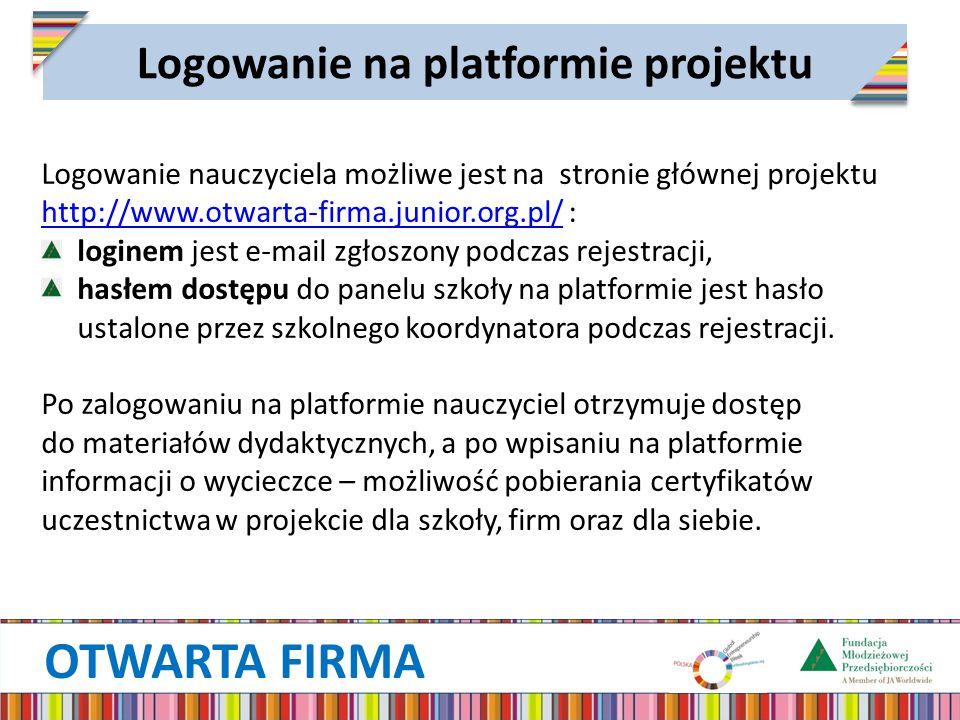 Logowanie na platformie projektu