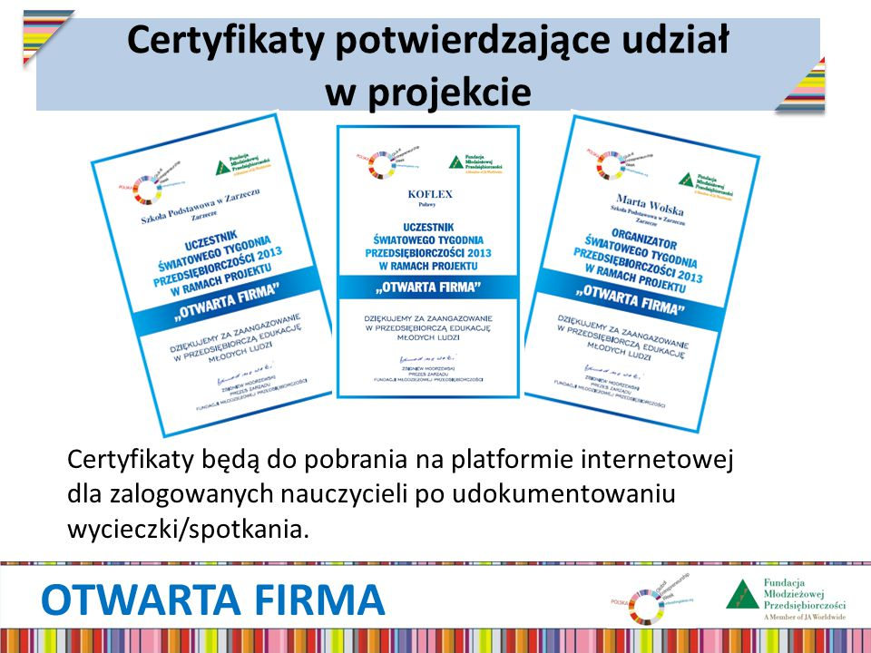 Certyfikaty potwierdzające udział w projekcie