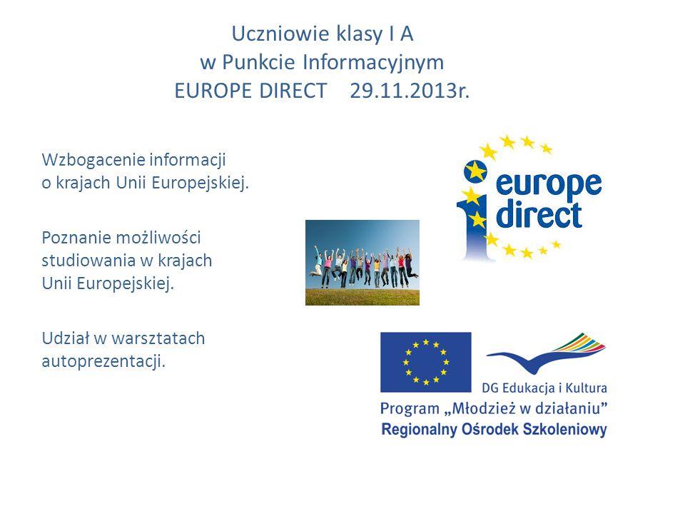 Uczniowie klasy I A w Punkcie Informacyjnym EUROPE DIRECT 29.11.2013r.