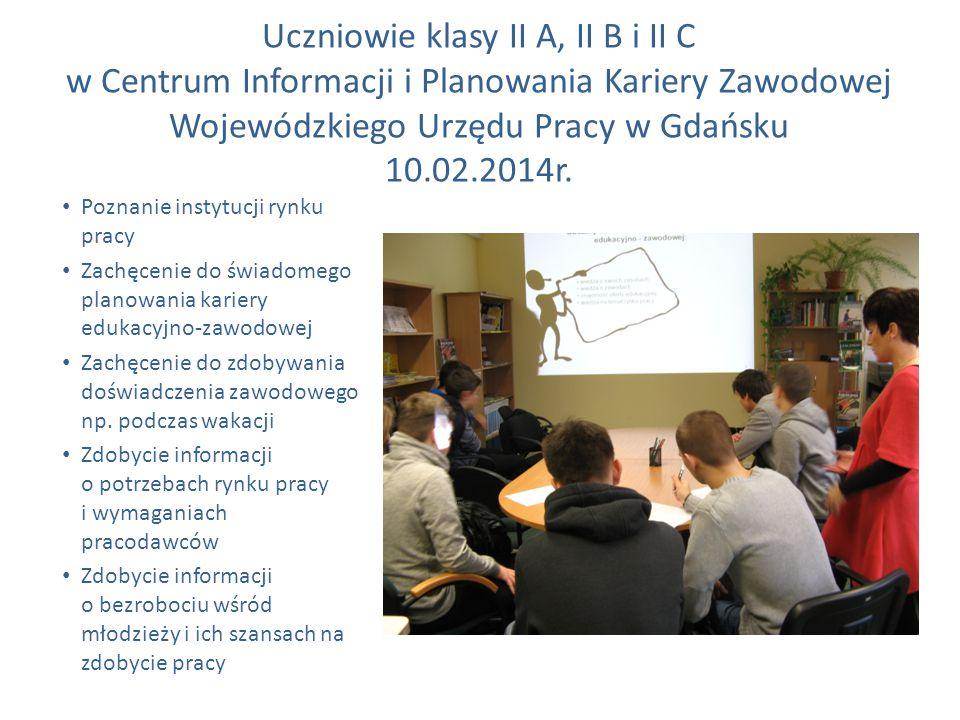 Uczniowie klasy II A, II B i II C w Centrum Informacji i Planowania Kariery Zawodowej Wojewódzkiego Urzędu Pracy w Gdańsku 10.02.2014r.