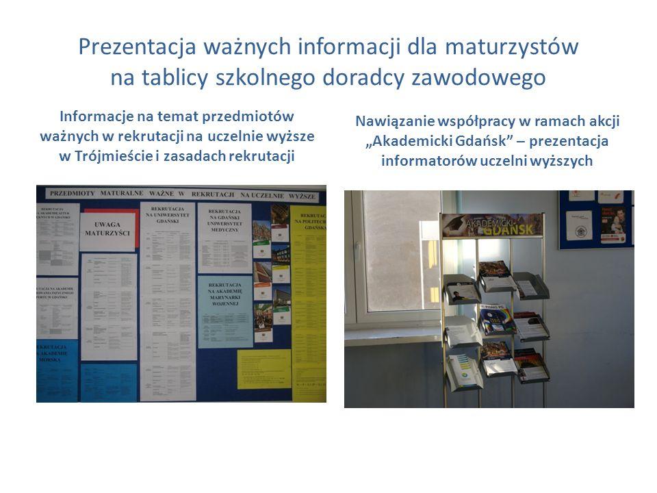 Prezentacja ważnych informacji dla maturzystów na tablicy szkolnego doradcy zawodowego