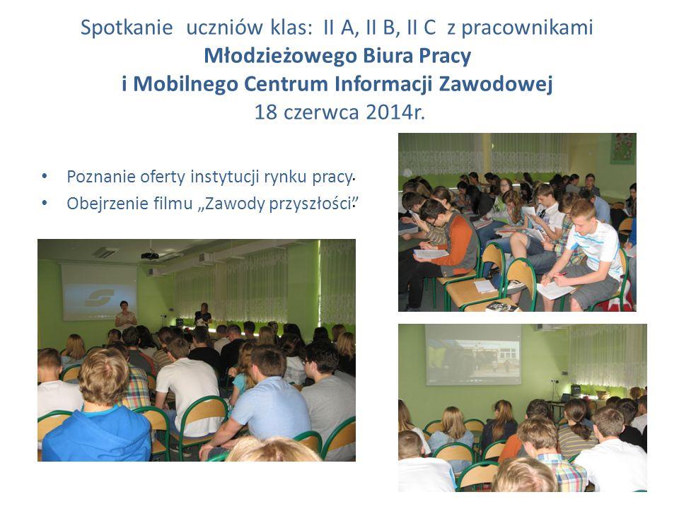 Spotkanie uczniów klas: II A, II B, II C z pracownikami Młodzieżowego Biura Pracy i Mobilnego Centrum Informacji Zawodowej 18 czerwca 2014r.