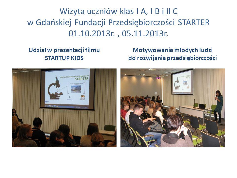 Wizyta uczniów klas I A, I B i II C w Gdańskiej Fundacji Przedsiębiorczości STARTER 01.10.2013r. , 05.11.2013r.