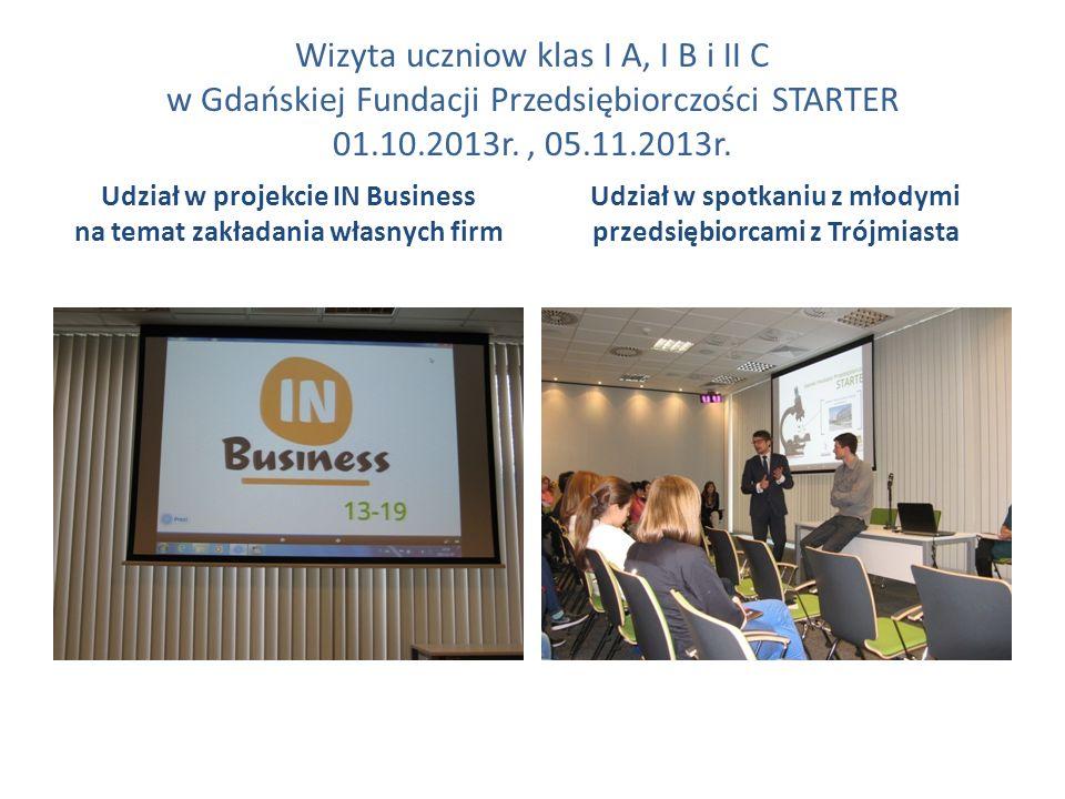Wizyta uczniow klas I A, I B i II C w Gdańskiej Fundacji Przedsiębiorczości STARTER 01.10.2013r. , 05.11.2013r.