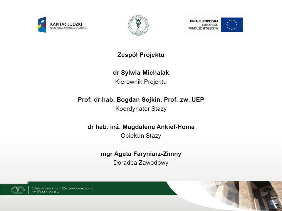 Zespół Projektu dr Sylwia Michalak Kierownik Projektu Prof. dr hab