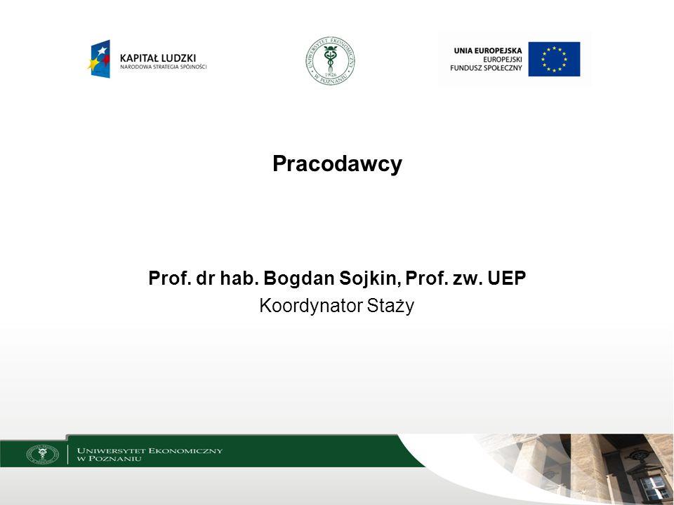 Prof. dr hab. Bogdan Sojkin, Prof. zw. UEP
