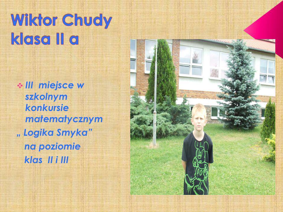 Wiktor Chudy klasa II a III miejsce w szkolnym konkursie matematycznym