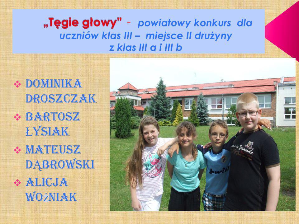 """""""Tęgie głowy - powiatowy konkurs dla uczniów klas III – miejsce II drużyny z klas III a i III b"""