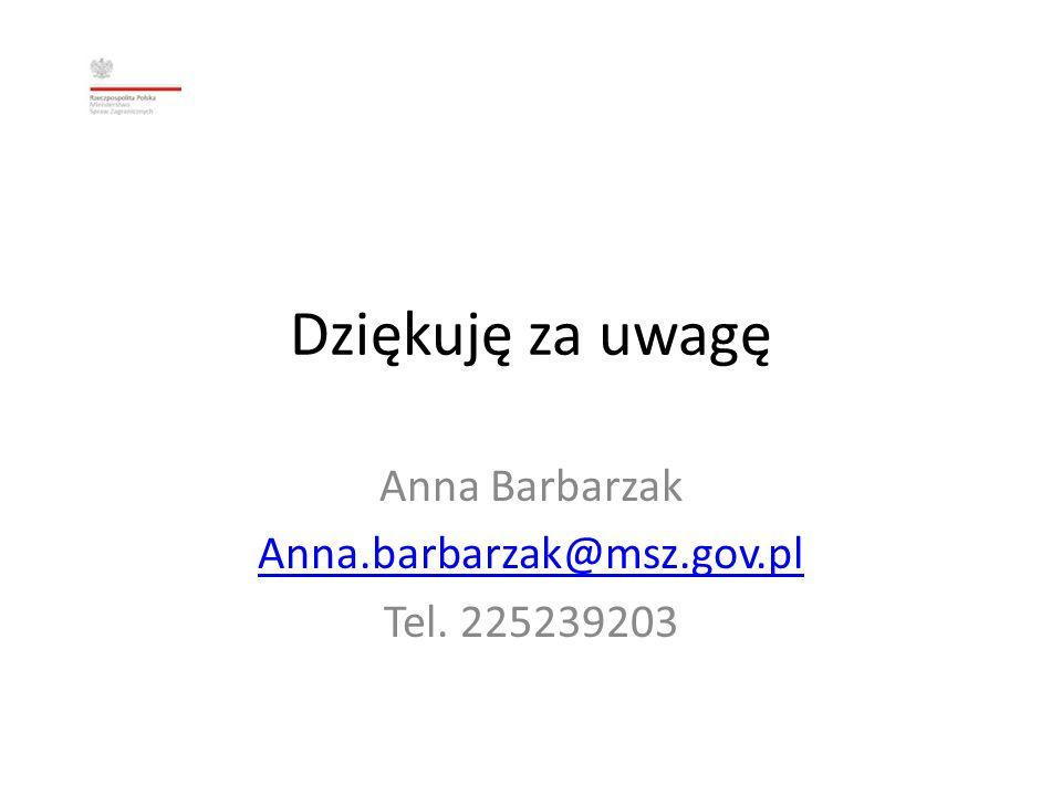 Anna Barbarzak Anna.barbarzak@msz.gov.pl Tel. 225239203