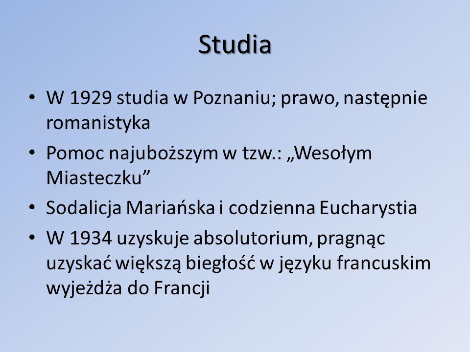 Studia W 1929 studia w Poznaniu; prawo, następnie romanistyka