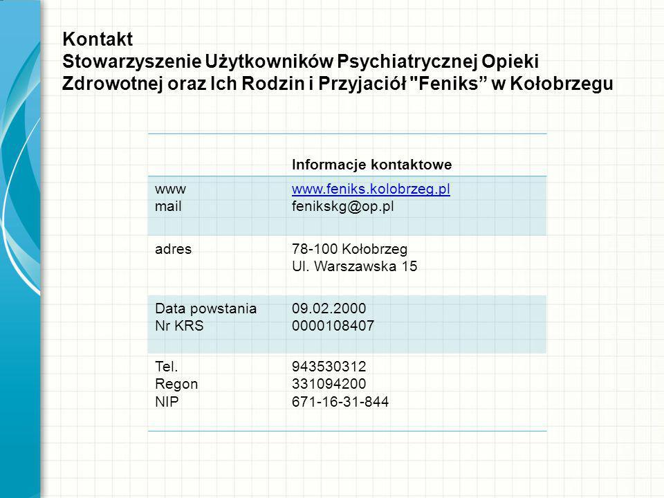 Kontakt Stowarzyszenie Użytkowników Psychiatrycznej Opieki Zdrowotnej oraz Ich Rodzin i Przyjaciół Feniks w Kołobrzegu