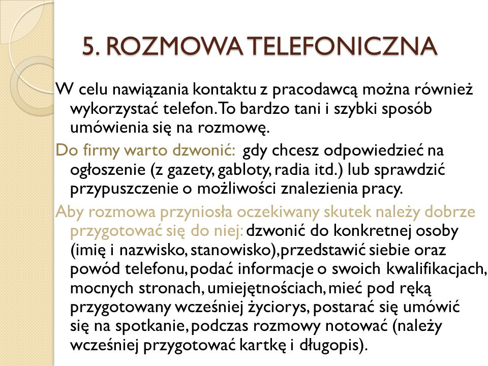 5. ROZMOWA TELEFONICZNA
