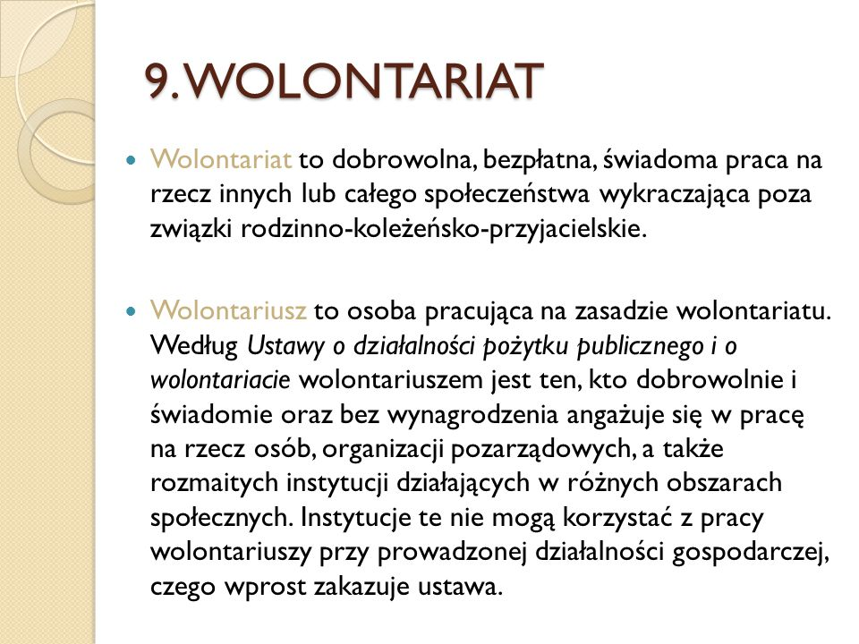 9. WOLONTARIAT