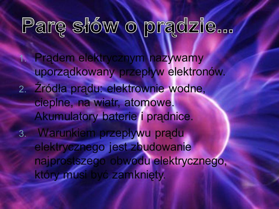Parę słów o prądzie... Prądem elektrycznym nazywamy uporządkowany przepływ elektronów.